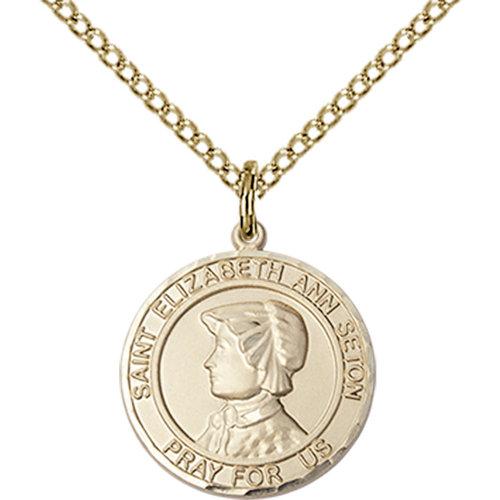 Bliss St. Elizabeth Ann Seton the Apostle Pendant -Round, Large, 14kt Gold Filled