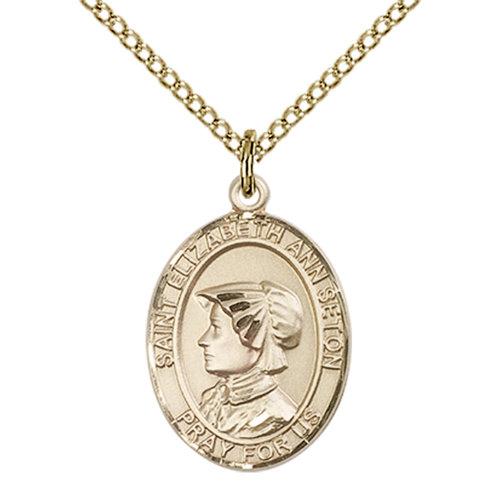 Bliss St. Elizabeth Ann Seton the Apostle Medal - Oval, Medium, 14kt Gold