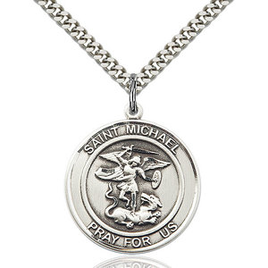 Bliss St. Michael the Archangel Pendant - Round, Large, Sterling Silver