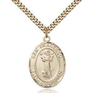 Bliss San Francis Medal - Oval, Large, 14kt Gold