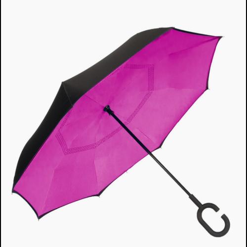 Unbelievabrella, Reverse Closing Manual Stick Umbrella - Black/Hot Pink