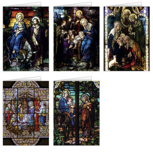 Stained Glass Asst 5 Images Box of 25 by Nelson Fine Art