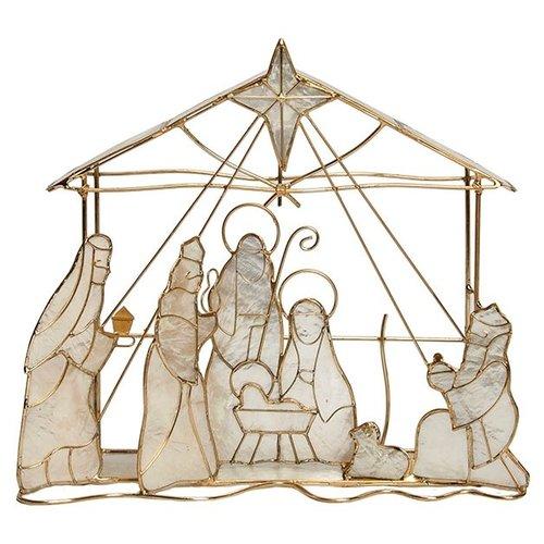 Capiz Nativity Scene 9x 8 inch by Dekorasyon