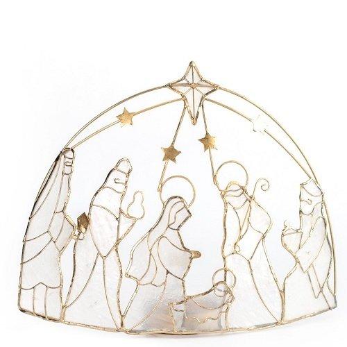 Capiz Nativity Arch Frame Candleholder 5x 6 inch by Dekorasyon