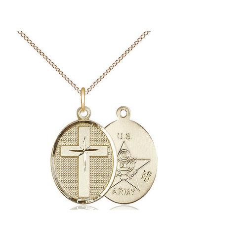 Bliss Cross / Army Pendant, 14kt Gold