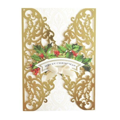 Gold Holly Boxed Christmas Cards  by ANNA GRIFFIN