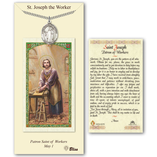 Bliss St. Joseph the Worker Prayer Card with Pewter St. Joseph the Worker medal