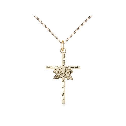 Bliss Doves / Cross Pendant, 14kt Gold Filled
