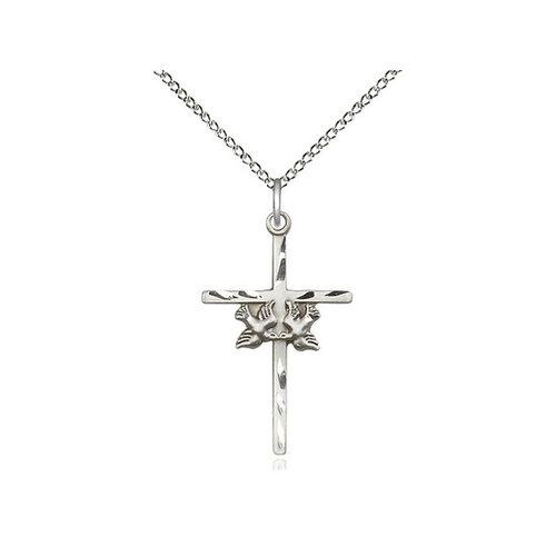 Bliss Doves / Cross Pendant, Sterling Silver