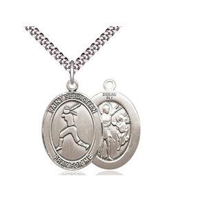 Bliss Saint Sebastian / Softball Pendant, Sterling Silver