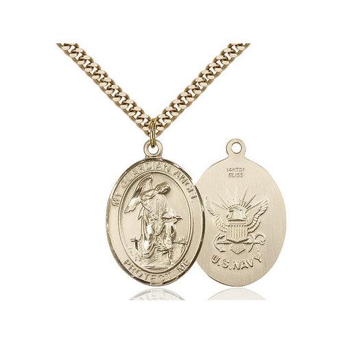Bliss Guardian Angel / Navy Pendant, 14kt Gold Filled