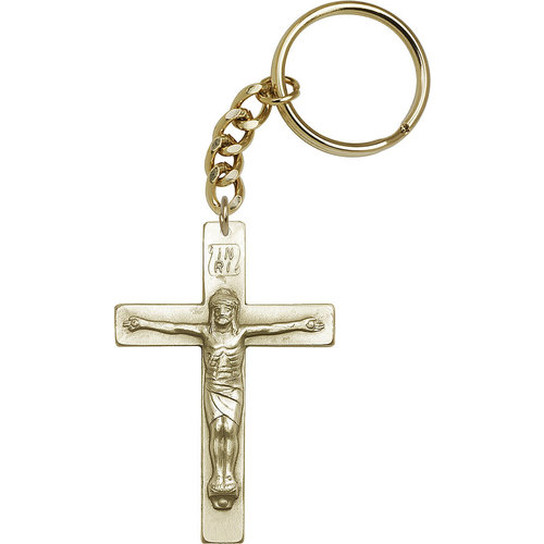 Bliss Crucifix Keychain, Antique Gold