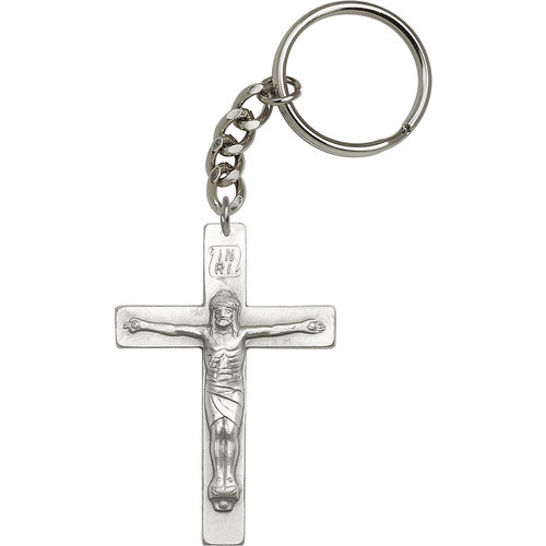 Bliss Crucifix Keychain, Antique Silver