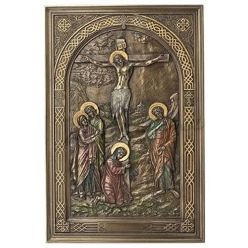 studio collection Iconic Style Calvary Wall Plaque with Stand - Bronze
