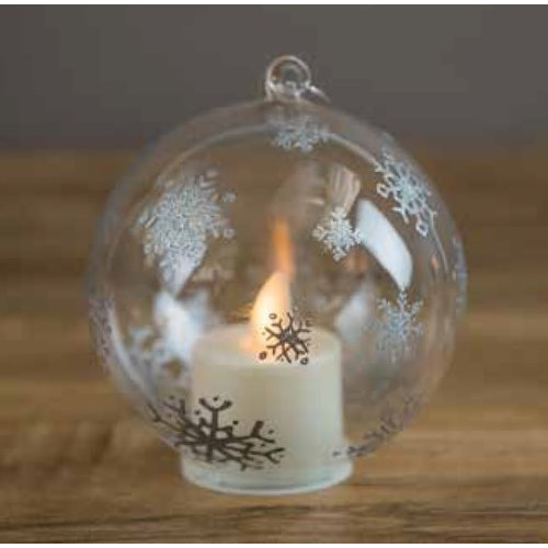 boston warehouse Pewter Snowflake Ornament With Moving Flame LED Tealight
