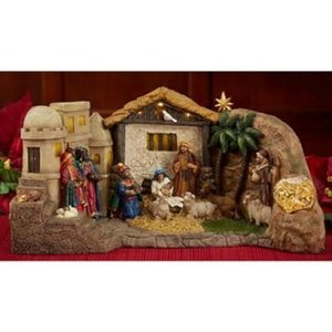Three Kings Gifts The Panorama Nativity with Real Gold, Frankincense and Myrrh