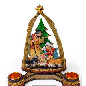 ROMAN Advent Nativity with Arch Candle Holder - Holy Family