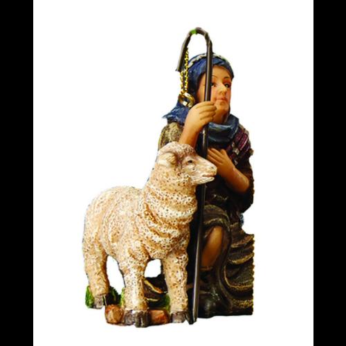 Three Kings Gifts 3 Inch Kneeling Shepherd with Lamb Ornament