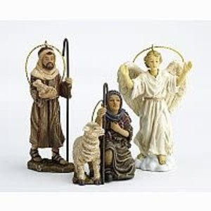 Three Kings Gifts Real Life Nativity Shepherds and Angel Ornaments