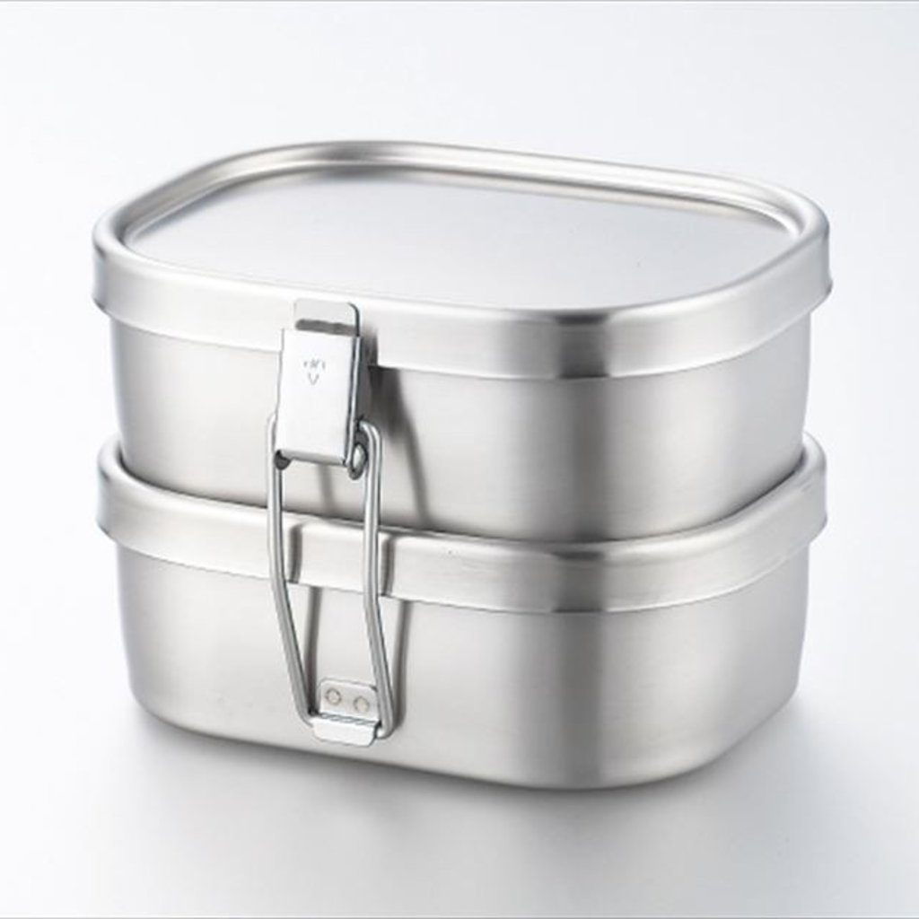 A - Boîte à Bento Inox - 360ml x 2 Square