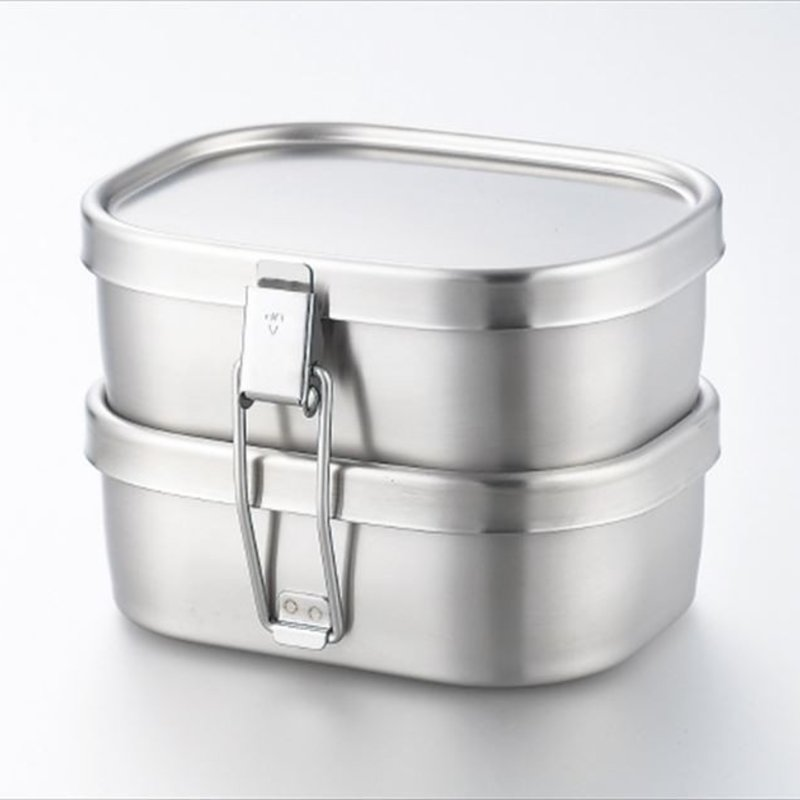 A - Stainless Steel Bento Box - 360ml x 2 Square