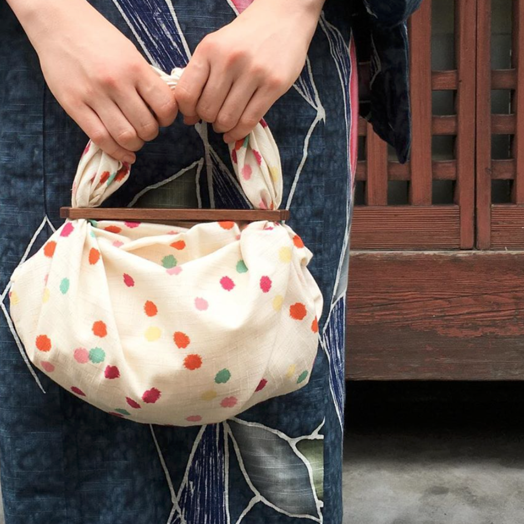 Musubi Furoshiki - Wood handle - Patchin' Small