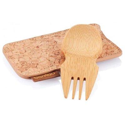 Bambu Set de voyage spork en bambou et étui de liège Spork & Cork