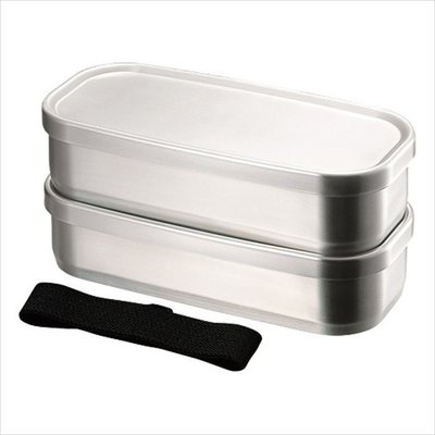 Aizawa Aizawa - Boîte à Bento Inox - 500ml x 2 Rectangle
