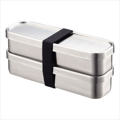 Aizawa Aizawa - Stainless Steel Bento Box - 350ml x 2 Rectangular