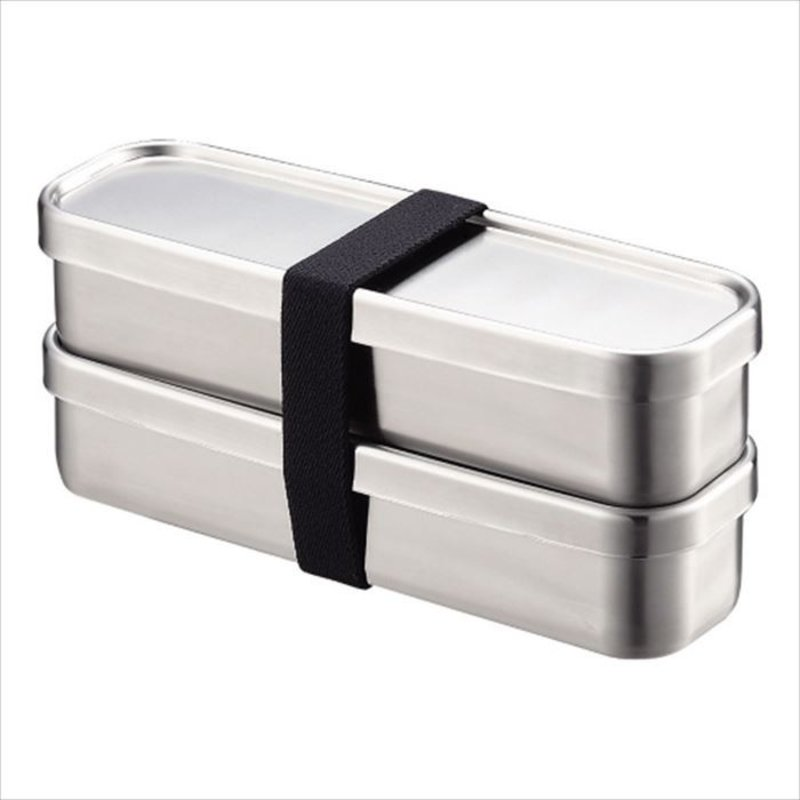 A - Boîte à Bento Inox - 350ml x 2 Rectangle