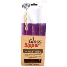 """Glass Sipper Drink - Glass Sipper - 8"""" ordinaire - paquet de 2 pailles et brosses"""
