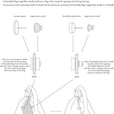 Uoak Poignée ronde en cuir et clip pour furoshiki - Moyenne