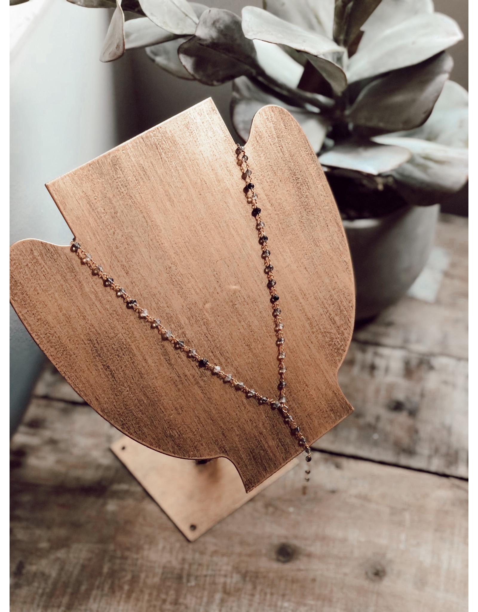 Helen Wang HW 2k Gold Rutilated Quartz Y Shape Necklace