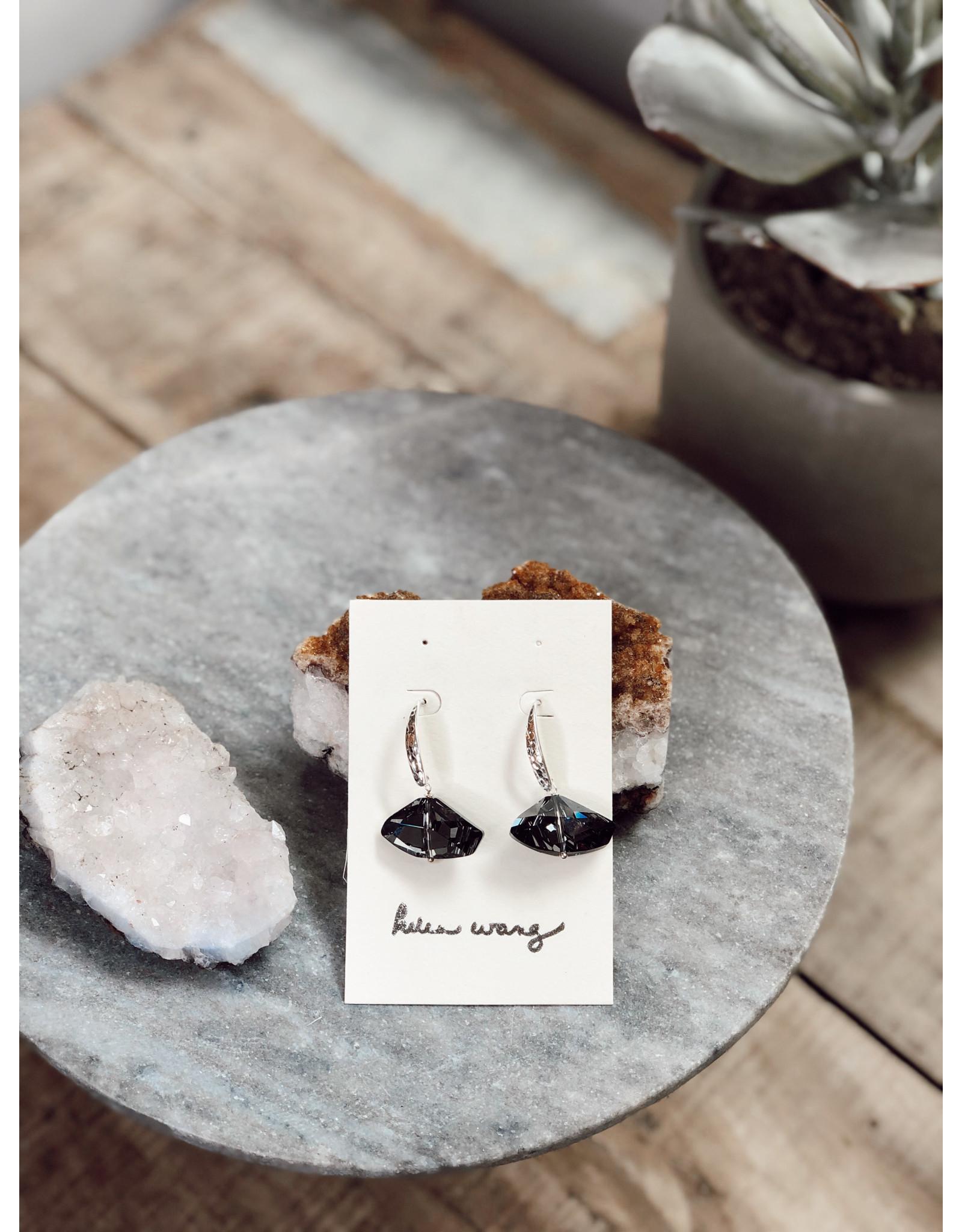 Helen Wang HW Hammered Sterling Ltd. Edition Swarovski Crystal Earrings