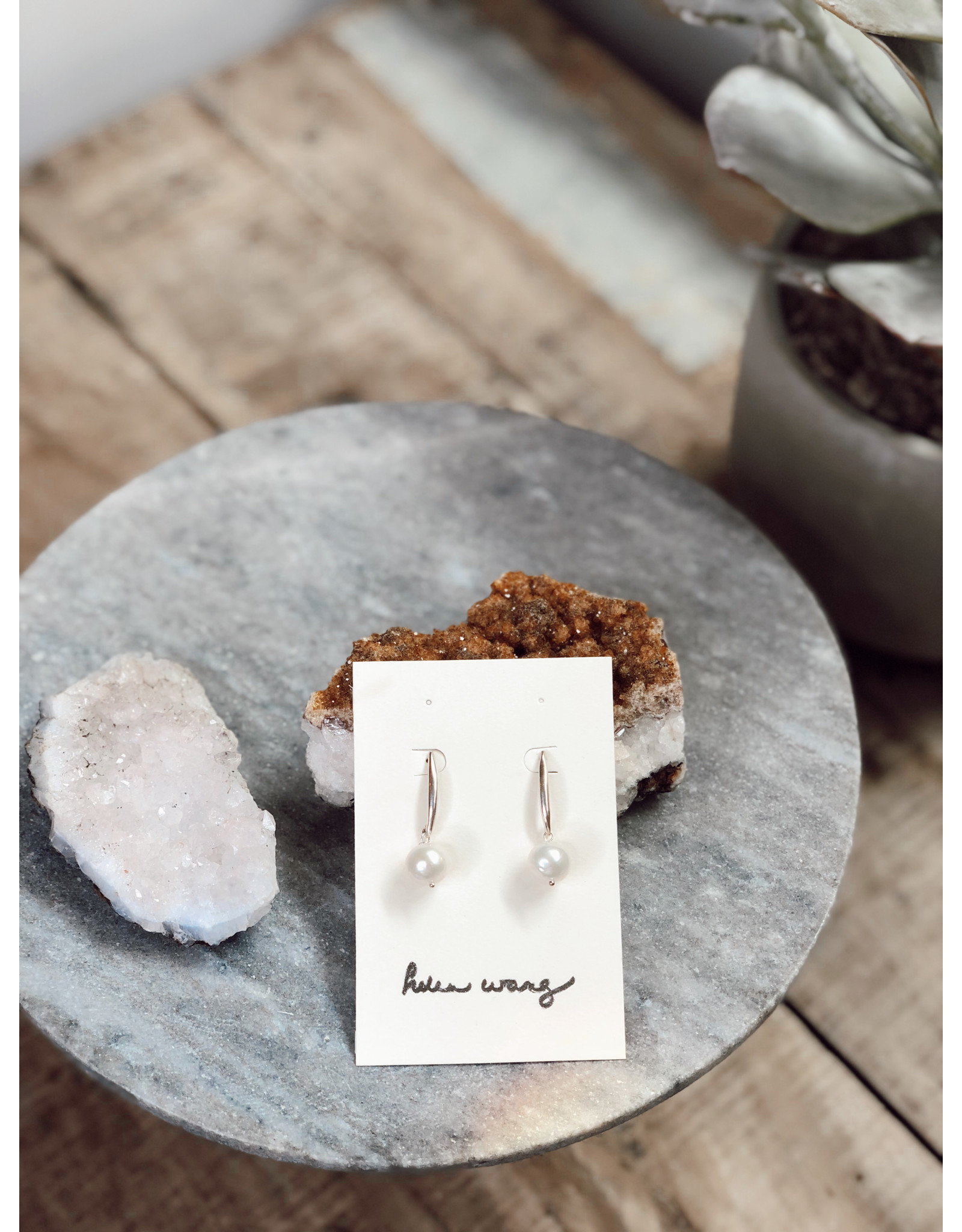 Helen Wang HW Sterling Silver A Grade Large Natural Pearl Earrings