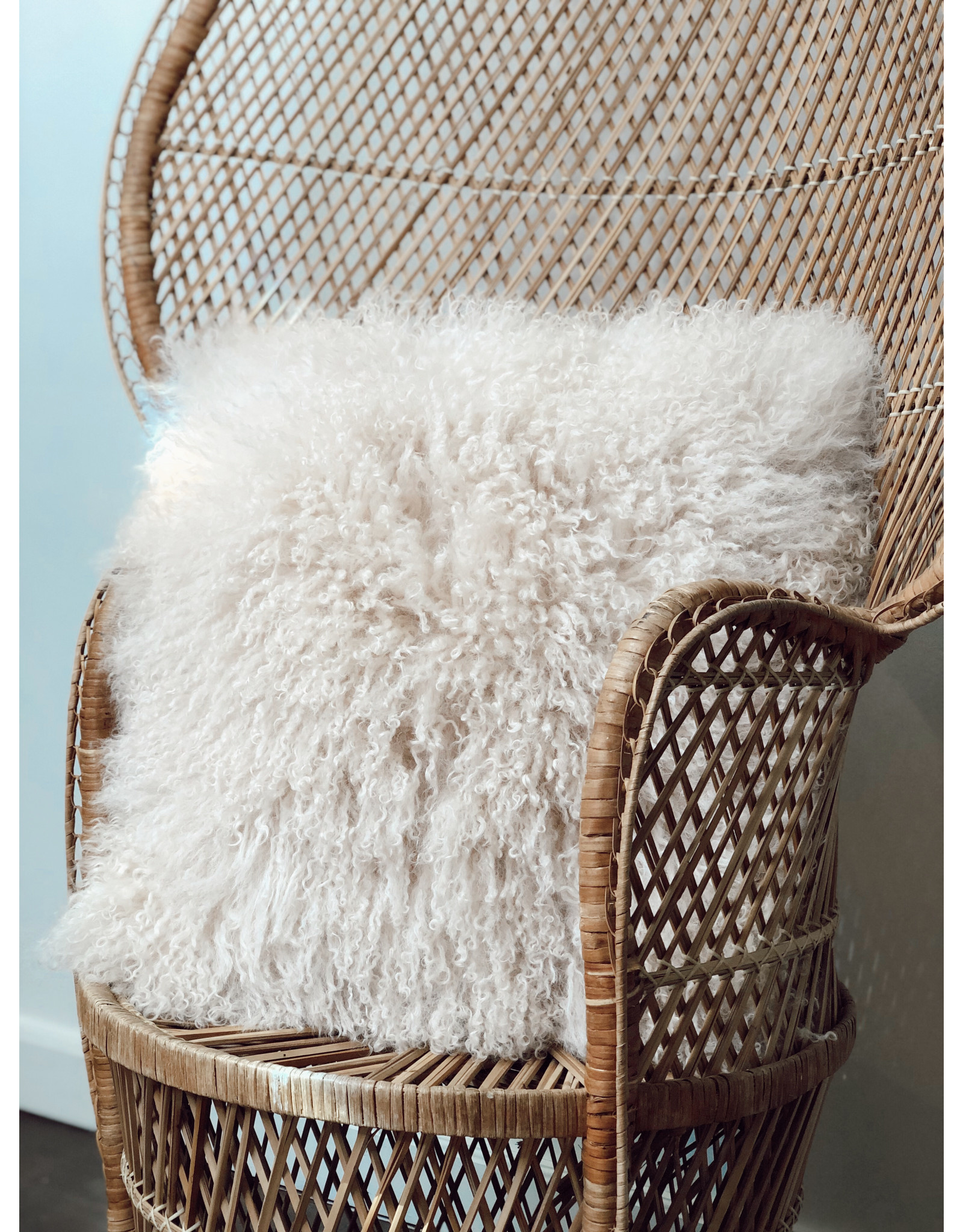 "Creative Co-Op 20"" Square Mongolian Lamb Fur Pillow, Cream"