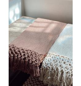 Creative Co-Op Woven Cotton Throw w/ Crochet & Fringe