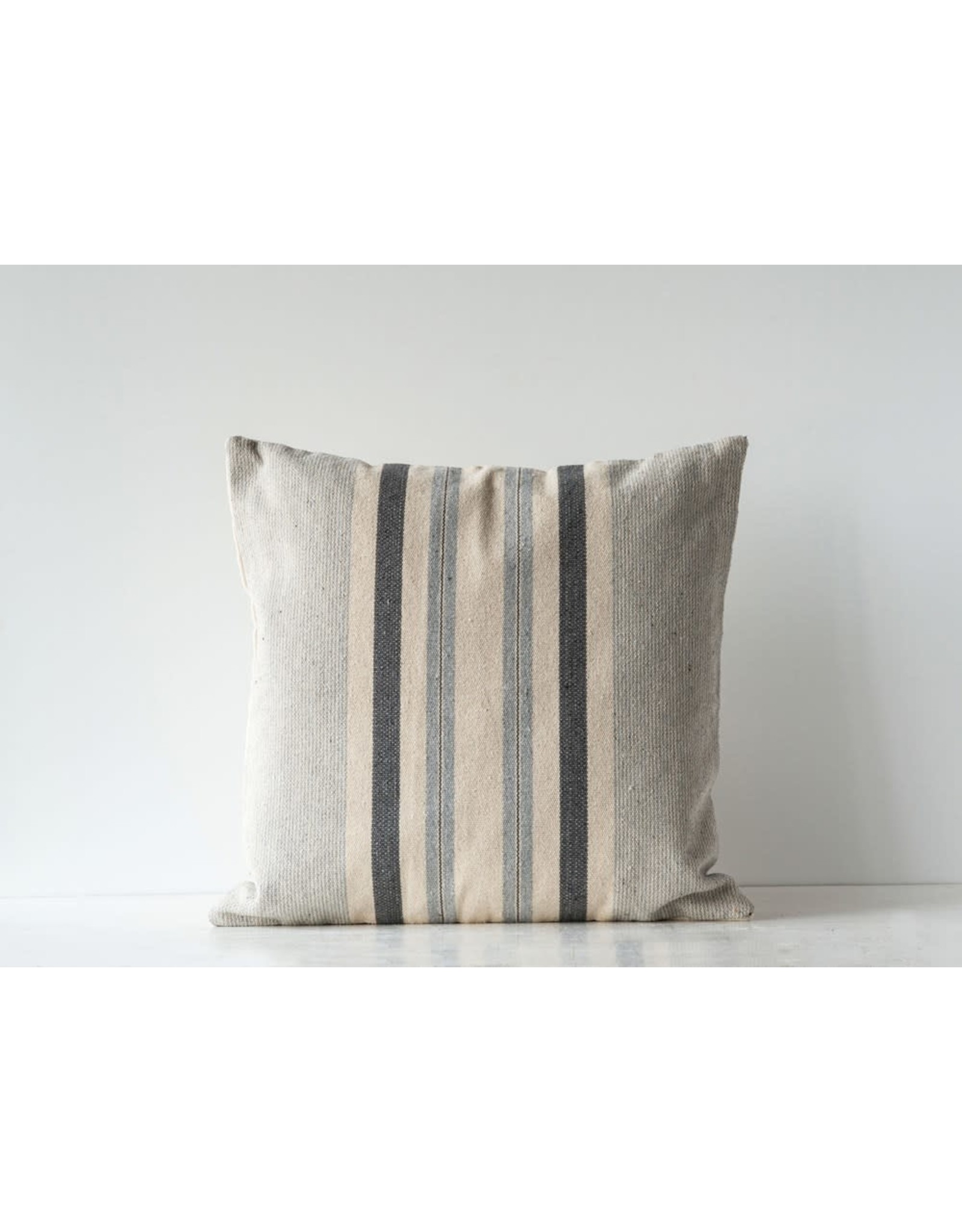 """Creative Co-Op 20"""" Square Cotton Woven Striped Pillow, Grey"""
