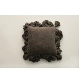 "Creative Co-Op 18"" Square Cotton Slub Pillow with Crochet & Tassels"