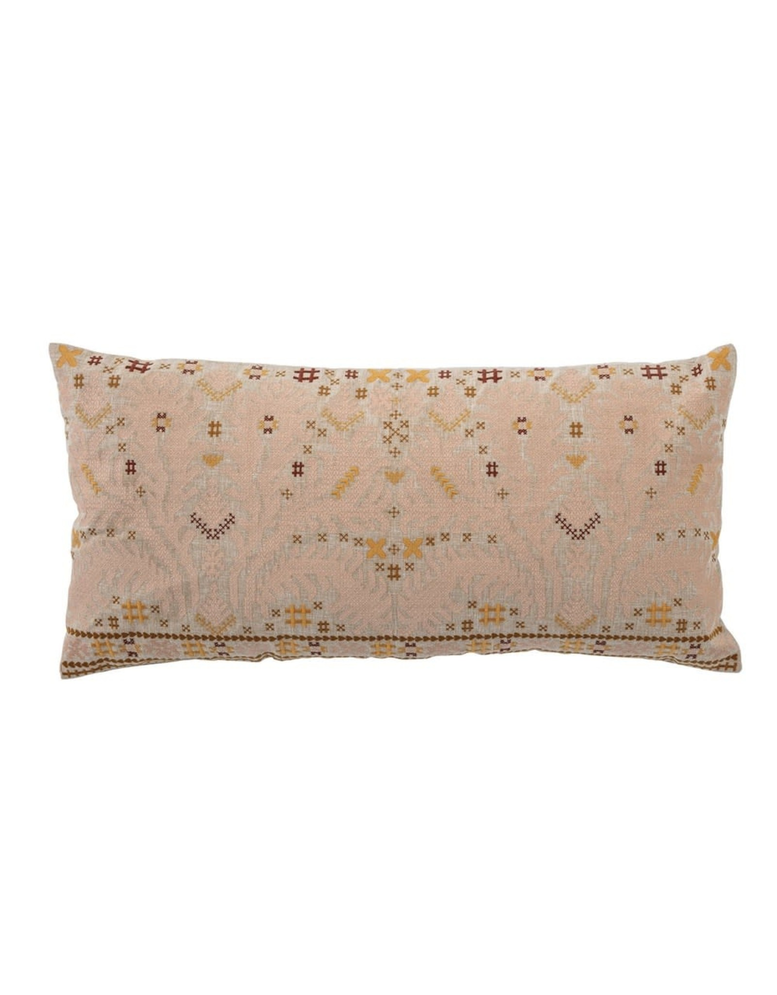 """Creative Co-Op 28""""L x 14""""H Cotton Embroidered Lumbar Pillow, Multi Color"""