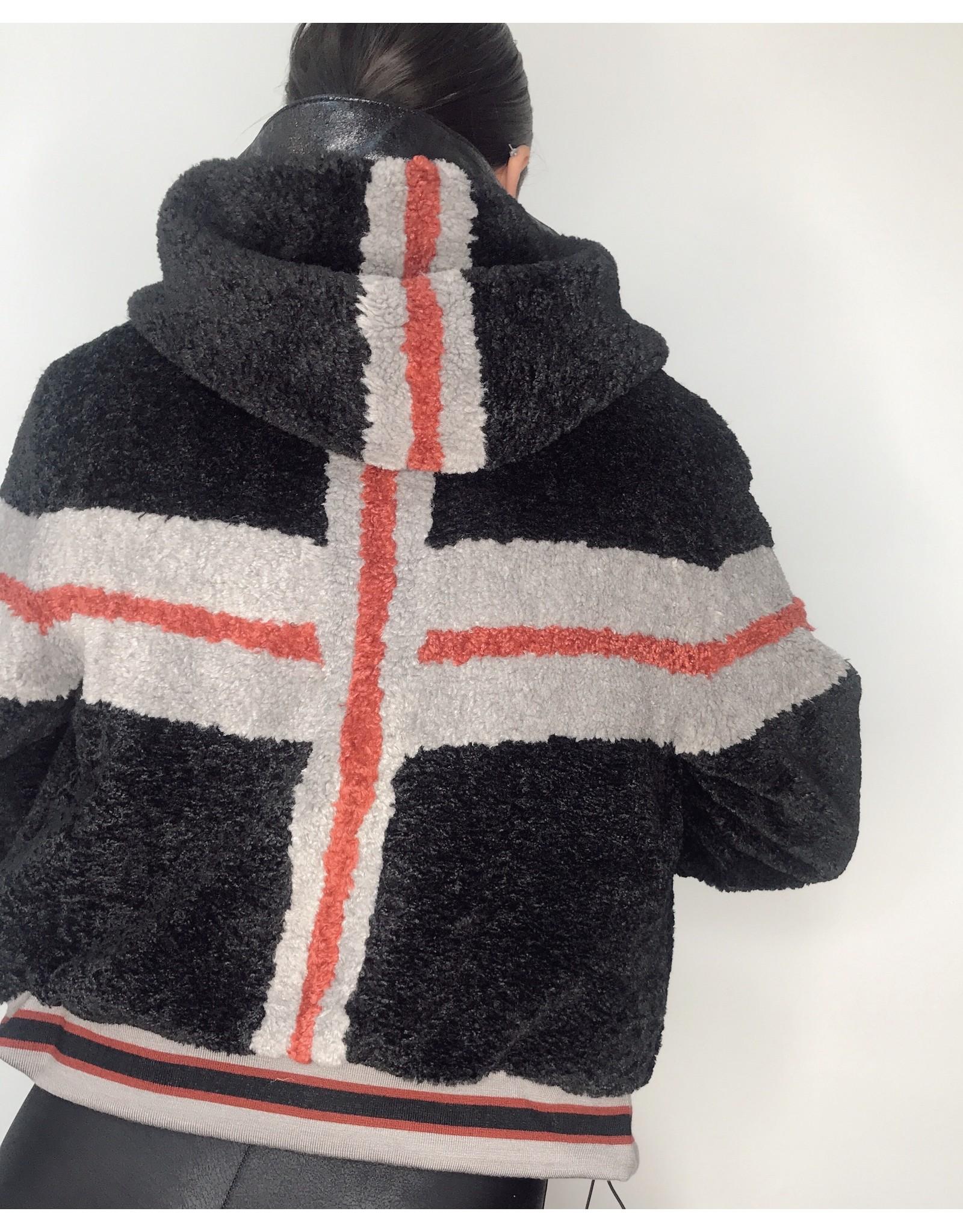 Blanc Noir Faux Fur Cropped Hoodie