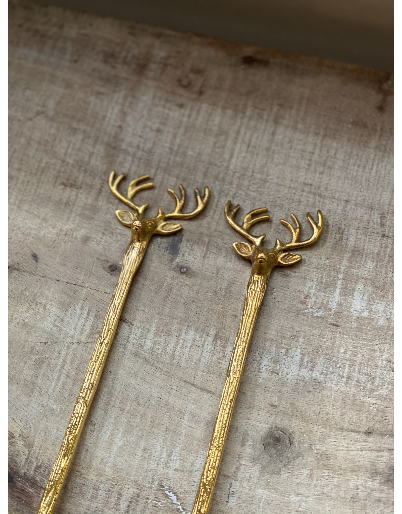 Creative Co-Op Stainless Steel & Brass Reindeer Servers