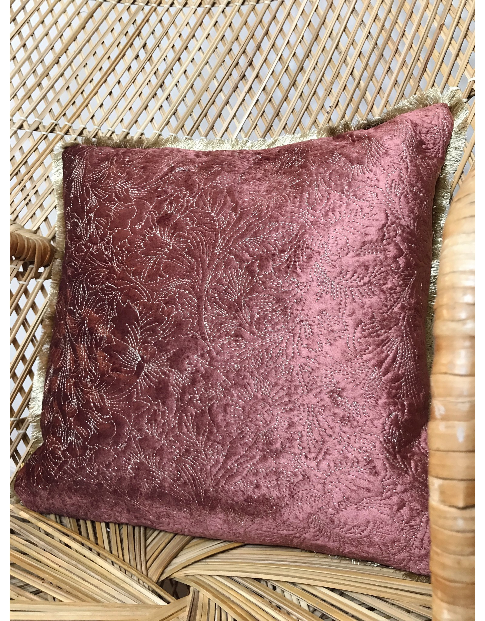 "Creative Co-Op 18"" Square Cotton & Velvet Pillow w/ Fringe & Embroidery, Rose & Gold Color"