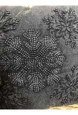 """Creative Co-Op 18"""" Square Embroidered Pillow w/ Snowflake Applique, Charcoal Color"""