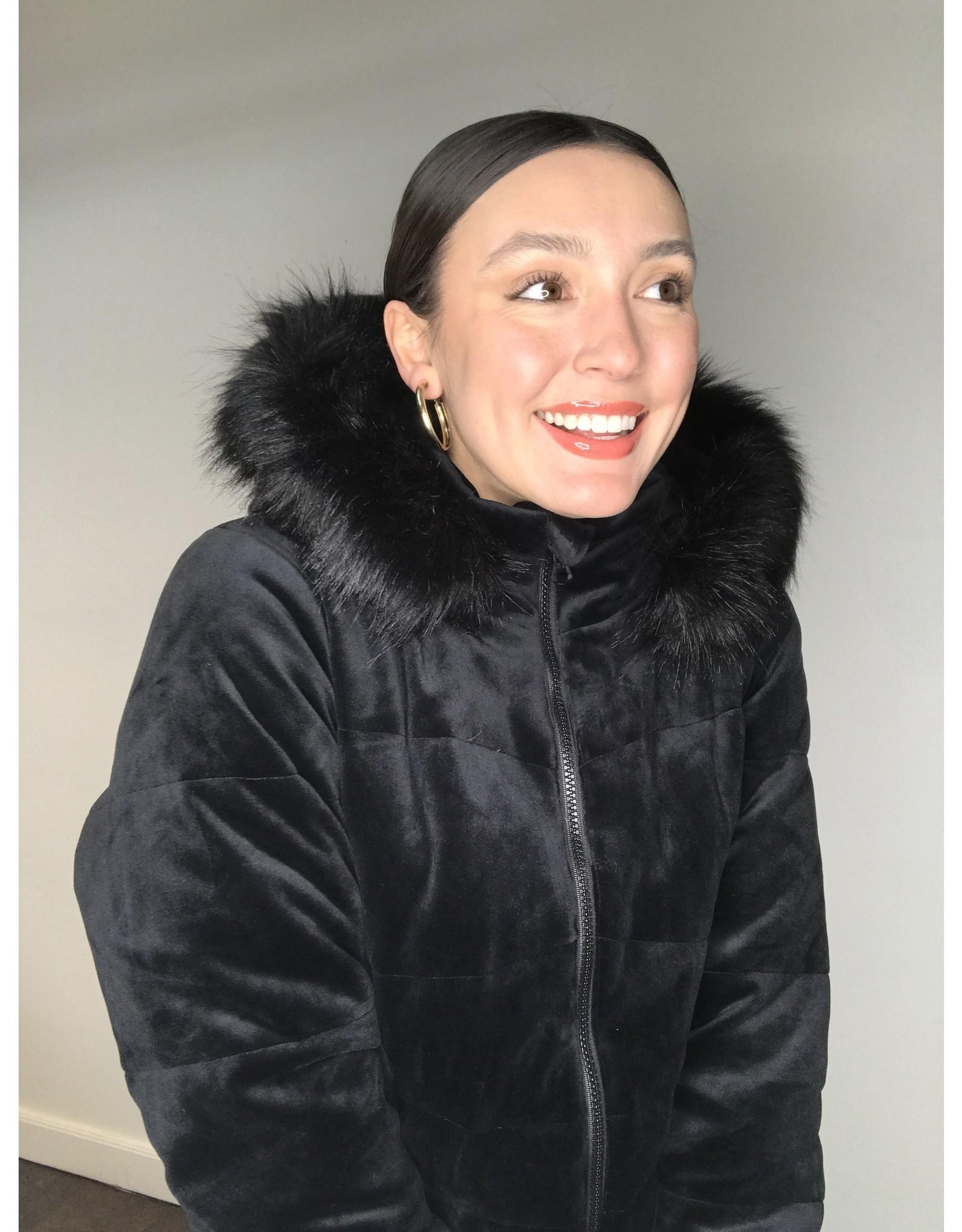 Blanc Noir Alexandra Velvet Puffer Jacket