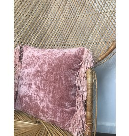"Bloomingville 18"" Square Fabric Pillow w/ Tassels, Rose Color"