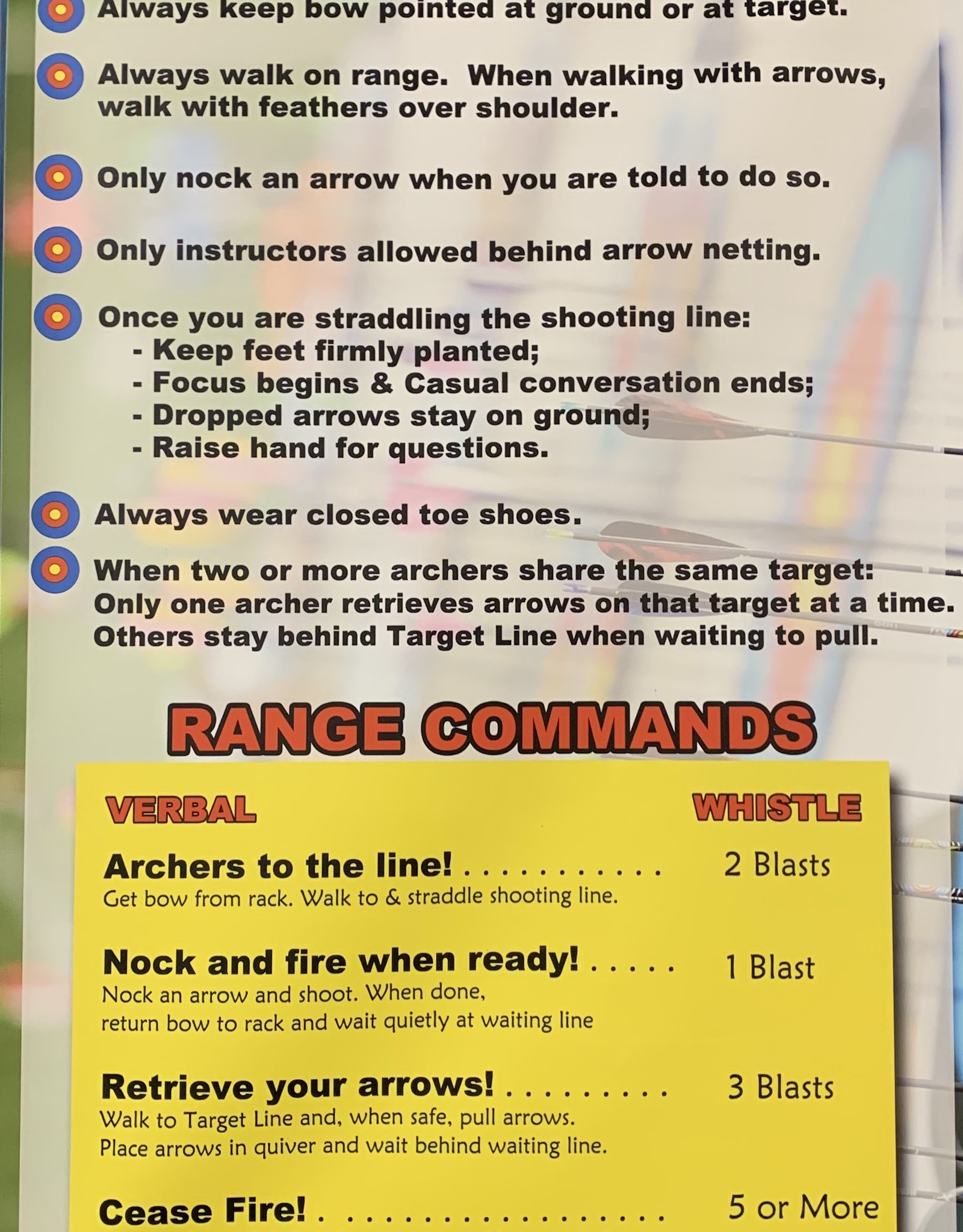 Dragonfly Archery Archery Range Rules Poster