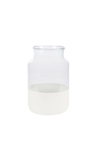 White Colorblock Mason Jar- Medium