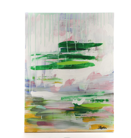 "J. Popplin Acrylic Painting ""Green Stripes with Drips"""