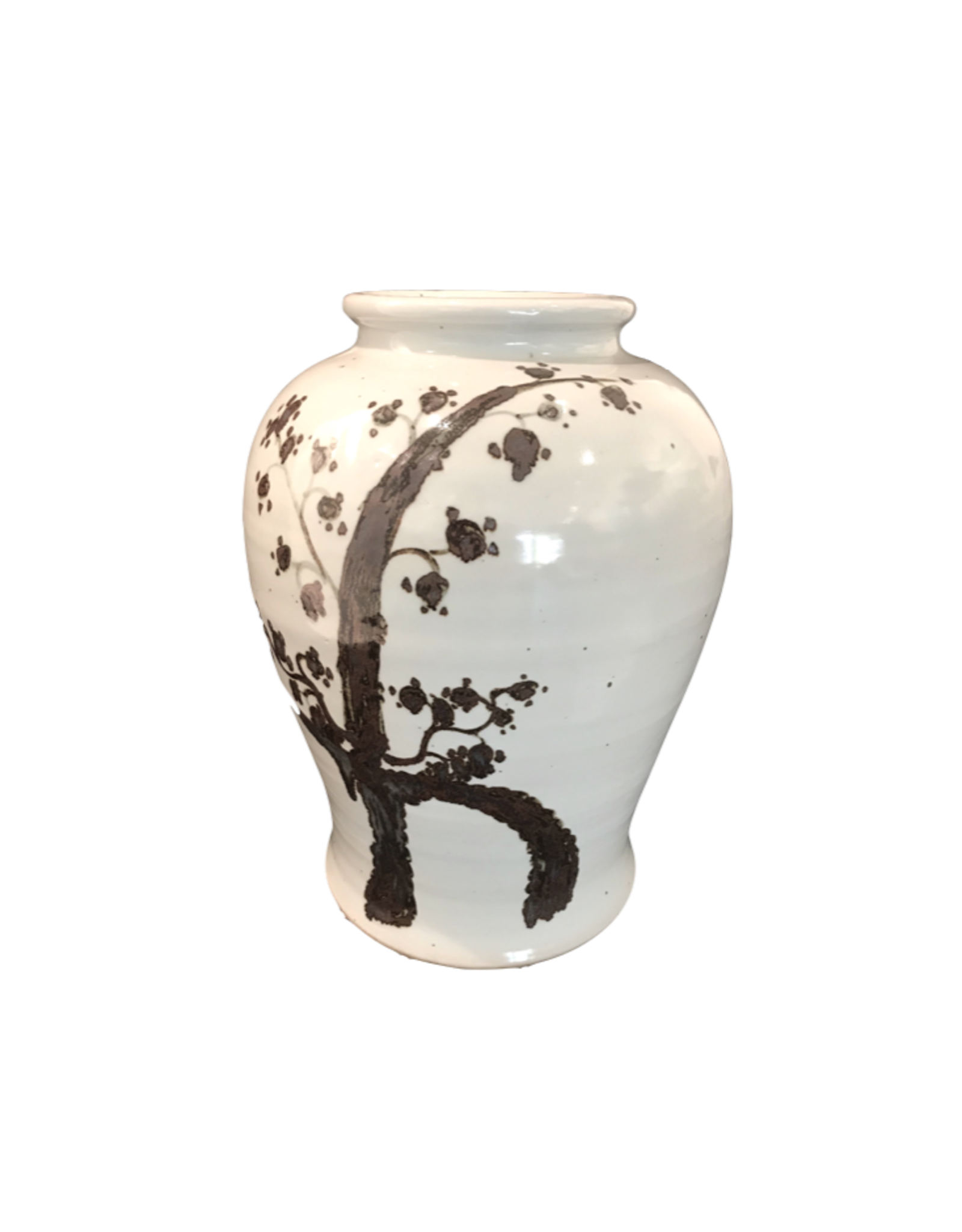 Rustic Cherry Blossom White Vase